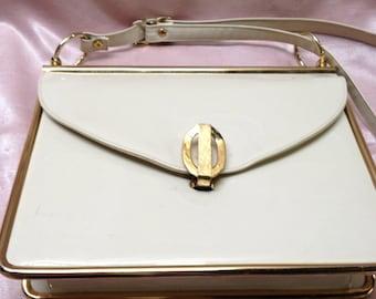 Dofan Cream Patent Leather Mad Men Handbag Vintage Designer Purse