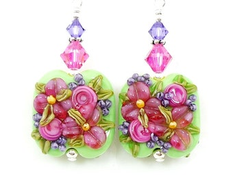 Pink Purple Green Earrings, Floral Earrings, Colorful Earrings, Lampwork Earrings, Glass Earrings, Glass Bead Earrings, Flower Earrings