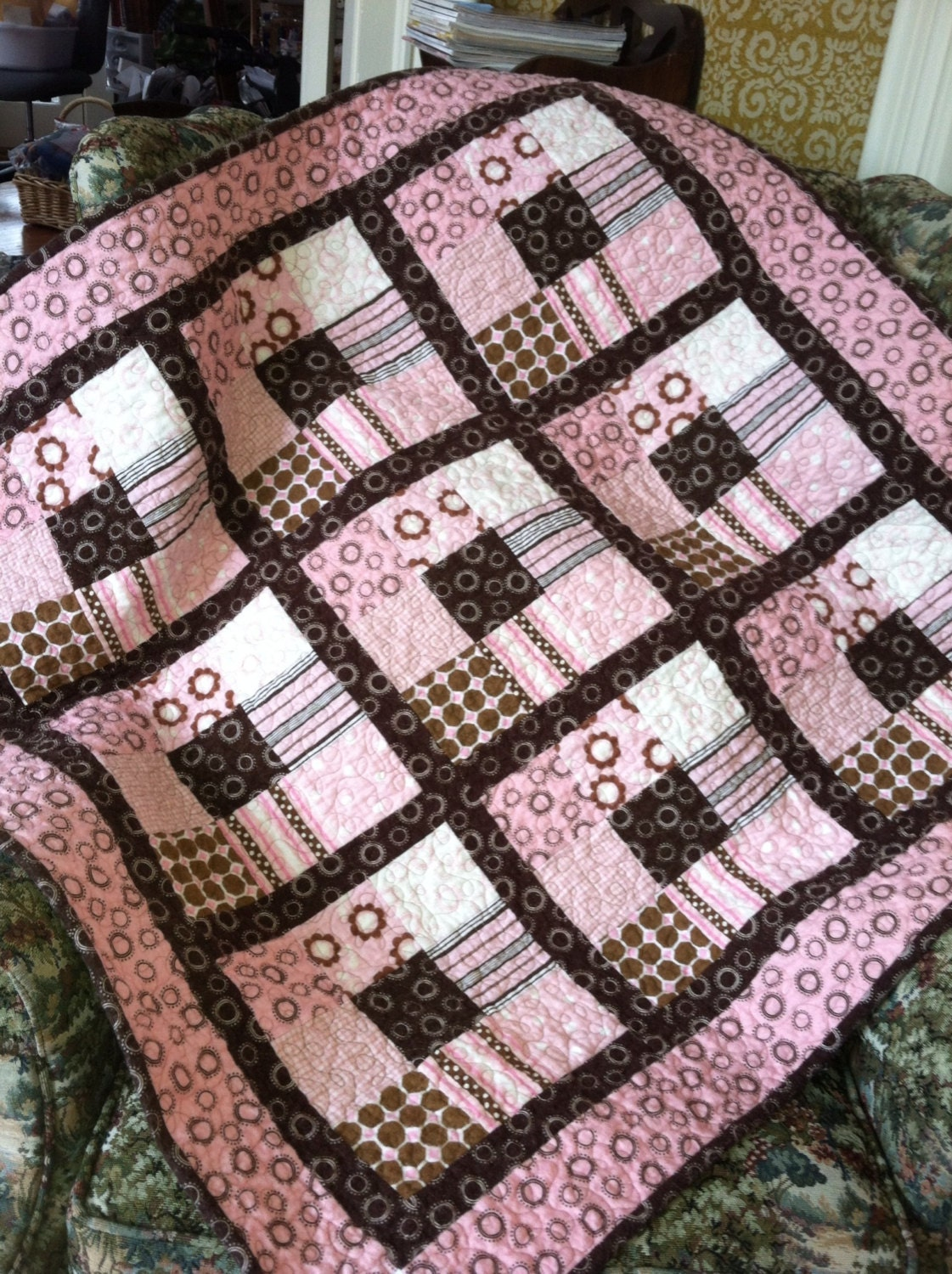 Baby Girl Quilt In Pink And Brown Cotton Flannel