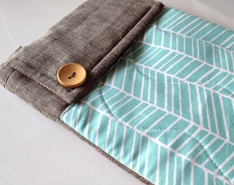 Aqua herringbone - iPad mini Linen Pouch (Magnetic snap closure)