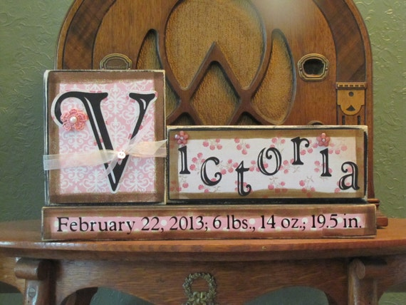 Personalized and Customized Girl's Name Sign, Birth Announcement Blocks Sign, Baby Shower Gift, Personalized Baby Gift