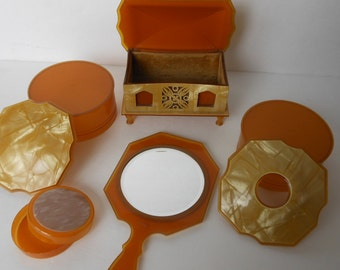 Vintage Dresser Set Yellow Jewelry Box, Mirror, 3 Boxes,  SALE CLEARANCE