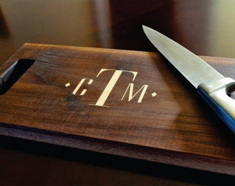 Personalized Cutting Board Inlay Engraved 11x15 Modern Monogram Chopping Block CBDIA1115