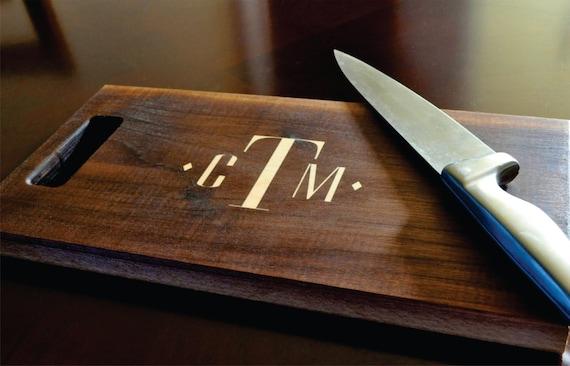 Personalized Cutting Board Inlay Engraved 8x14 Modern Monogram Chopping Block CBDIA814
