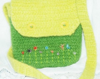 Felted Wool Purse in Lime Green with Embroidered Flowers, On Clearance, Wool Handbag