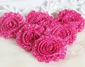 Set of 6 Shabby Frayed Vintage look Chiffon Rosette Flowers - Hot Pink Fuchsia with White Polka Dots