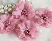 NEW: 4 pcs Aubrey VINTAGE PINK - Soft Chiffon with pearls and rhinestones Mesh Layered Small Fabric Flowers, Hair accessories