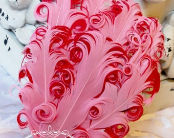 Two Tones Pink/ Red (123) Nagorie Feather Pad - Feather Pad - Curly Feathers - Goose Feather Pad