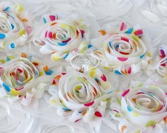 Spring Party Multi POlka DOts Print 2 1/2 inch- 1 yard Chiffon Shabby Rose Trim, Hair Bow. Chiffon Rosettes