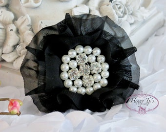 New to Shop Reilly Collection: 2 pcs BLACK Soft Chiffon Ruffled Fabric Flowers w/ Rhinestones Pearls - Layered Bouquet fabric flowers
