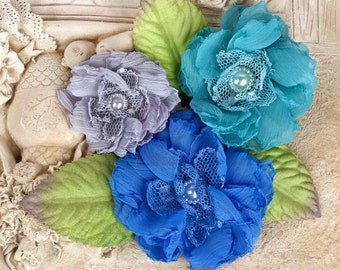"Paquita"" Surfside 566449 Royal Blue/ Teal/ Grey Chiffon lace fabric flowers with Green leaves"