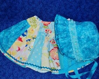 Baby Bonnet and Matching Skirt Set