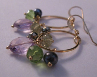 Gemstone Hoop Earrings, gemstone earrings, gold earrings, amethyst earrings , peridot earrings, hematite earrings, cluster earrings