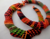 African Kente Cloth Bamboo Earrings-Ready to Ship
