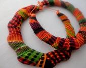 African Kente Cloth Bamboo Earrings-Ready to Ship