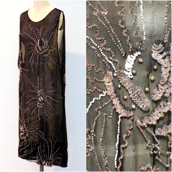 1920s Flapper Dress, Heavily Beaded 20s Dress, Black Silk Chiffon Cocktail Party Evening Shift Dress, Rhinestones, Art Deco Dress