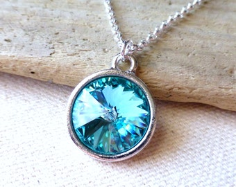 Turquoise Blue Swarovski Crystal Necklace, Light Turquoise Blue Pendant Necklace, Fashion Necklace, Under 50