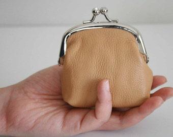 Soft Grainy Leather Mini Coin Purse Kiss Framed w/ Rhinestones