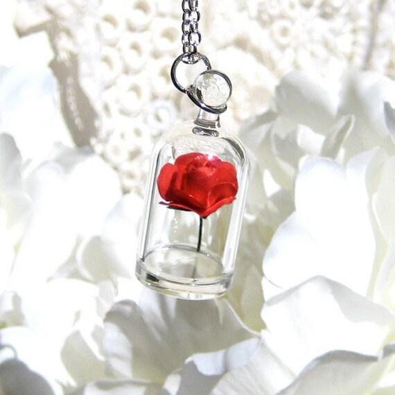 Red Rose in a Bell Jar Terrarium Necklace / Pendant