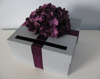 Gray Wedding Card Box Purple Hydrangeas Wedding Gift Card Box Reception Card Box Custom Card Boxes Plum Wedding Personalized Card Tag