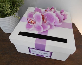 Wedding Card Box Bridal Shower Small Intimate Wedding Lavender Purple Orchids, Personalized Tag You Can Customize Colors, Flowers 9 inch box