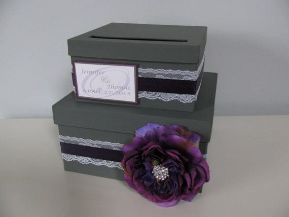 2 tiered Charcoal Gray and Lapis Purple Plum Wedding Card Box Victorian Lace Personalized Tag Purple Rose and Rhinestone