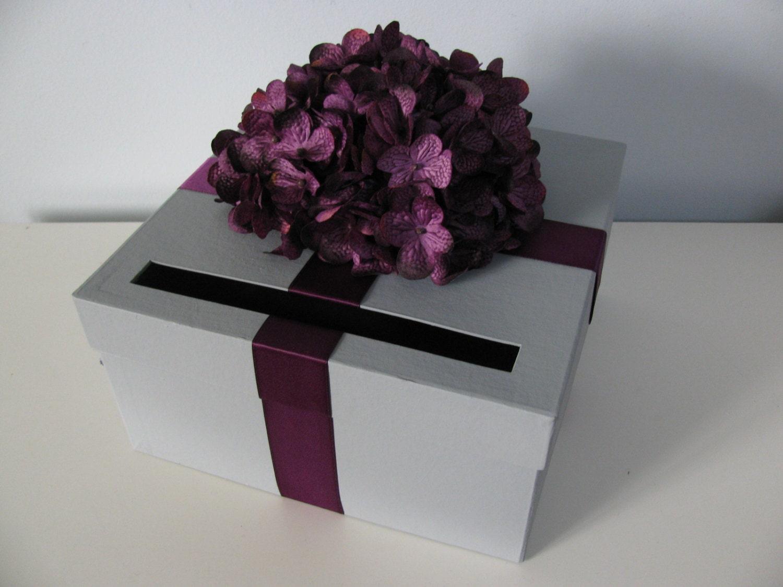 Gift Card Boxes Wedding: Gray Wedding Card Box Purple Hydrangeas Wedding Gift Card Box