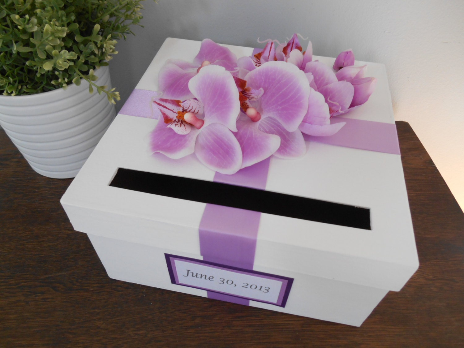 Wedding Shower Gift Card Box : Wedding Card Box Bridal Shower Small Intimate Wedding Lavender