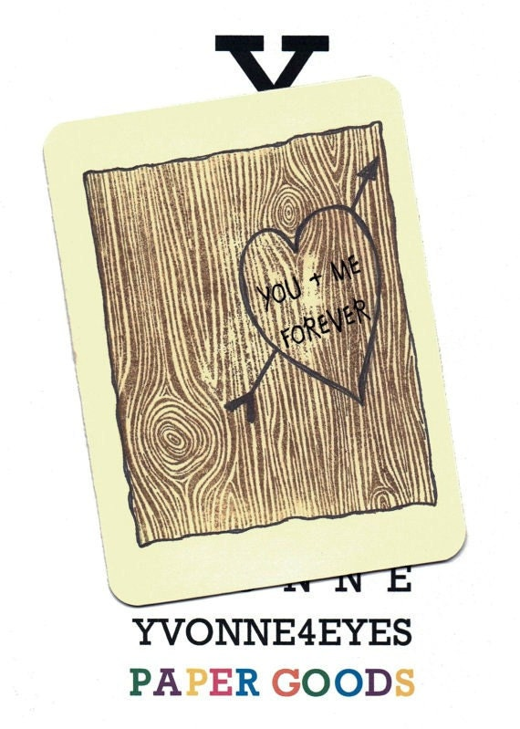Love.Lovers Card.Natural Love No. 1.Natural.Woodlands.Tree.Stump.Wood Grain.Custom.Valentines Day.Heart.by Yvonne4eyes