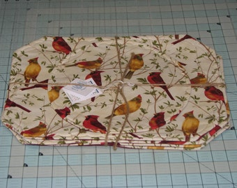 1 Set of 2,4 or 6 placemats with male & female cardinals Placemats w/Center Round maine birds  back by Carol's Country Crafts handmade