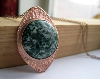 Tree Agate Copper Pendant on Antique Copper Chain, Green and Copper Shaded Necklace, Nature Inspired Jewelry, For Her