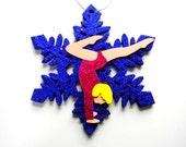 LAST ONE Gymnastics Glitter Snowflake Ornament Pink Blonde Gymnast on Purple