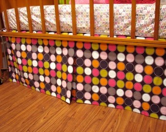Adjustable Crib Skirt wth Box Pleat in Mod Dot Pattern