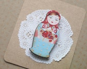Russian Doll Red and Blue Matryoshka Jewelry Brooch Wood Pin