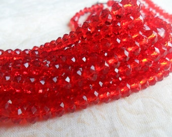 Tiaria Crystal Red Faceted Rondelle Beads 4x3mm