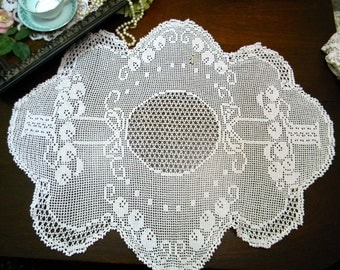 Vintage Table Topper or Small Tablecloth - Hand Filet Crocheted in White - Damaged 9894