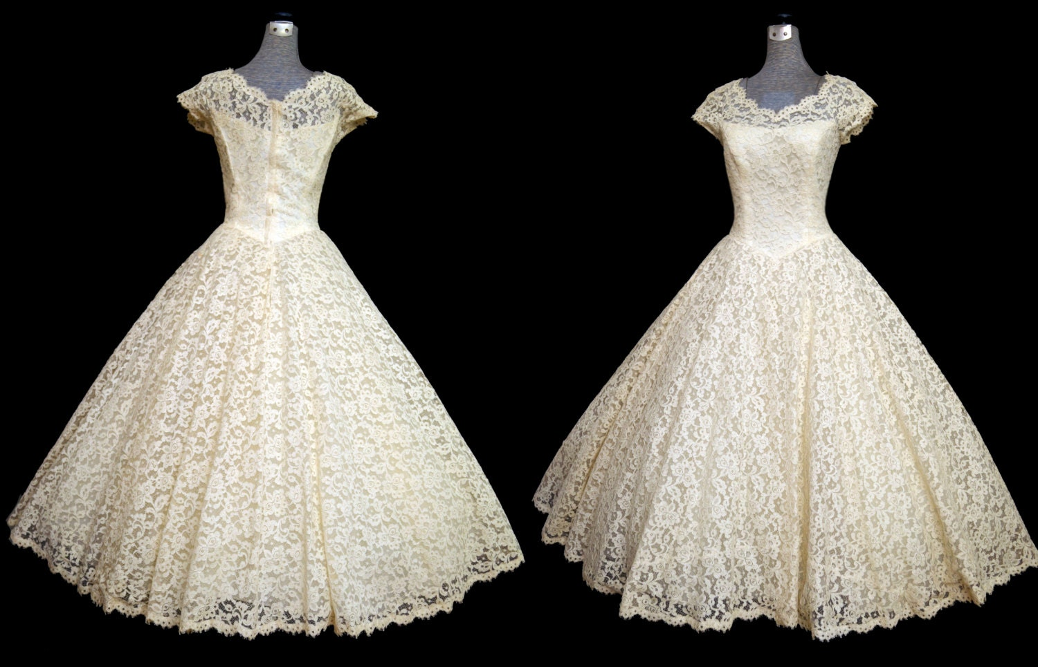 Reserved vintage 50s wedding dress 50s ivory lace cahill for Ivory lace wedding dresses vintage