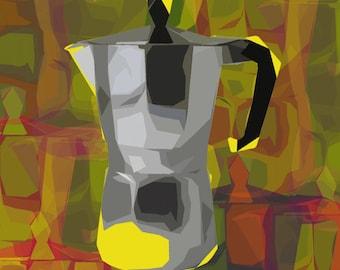 Moka pot Pop art print - rolled canvas