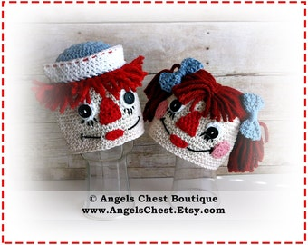 Crochet Raggedy Ann and Andy Inspired Beanie Hat PDF Pattern Sizes Newborn to Adult Boutique Design - No. 61 by AngelsChest