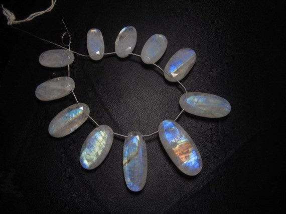 108 Cts - So Gorgeous - Rainbow Moonstone - Faceted Oval stone Briolett Amazing Beautiful Rainbow Fire huge size - 9x18.5 - 13x27 mm - 11pcs