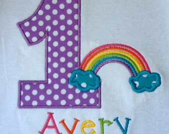 Girls' Birthday Rainbow  T Shirt or  Bodysuit
