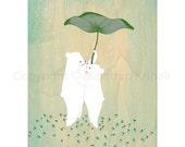Sway in the Rain - art print featuring polar bears