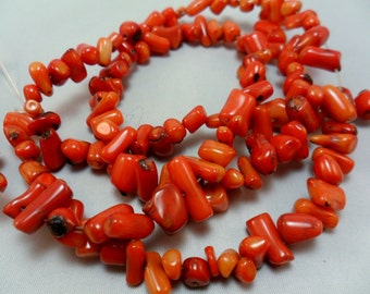 Coral Orange short, nuggety, Coral beads, gemstone Bead, 7x8mm  Strand 16 inch,