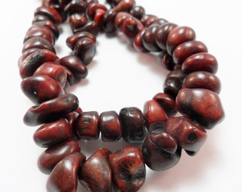 Brown Gemstone Coral  Beads, Unique Coral Branch Beads,  Deep Brown Nugget Coral Beads 10-12mm 8 inch Strand