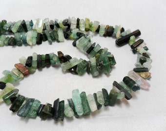 Gemstone Bead, AA quality Green Tourmaline Crystal Beads, Side drill,  6-9mmX4-5mm  3 inches