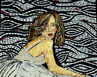 Stained Glass Mosaic Mural  Shades of Grey