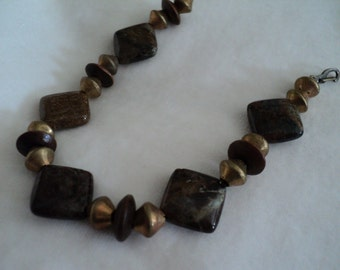 Agate, Brass and Wood Bracelet
