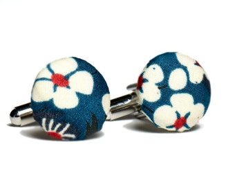Pomp & Ceremony, Men's cuff links, Liberty of London Mitsi teal print