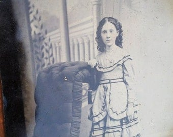 Huge 1800s 6.5 x 8.5 Tin Type - Girl with Rosy Cheeks