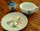 vintage play ... DOLLY DISHES 4 pce SET ...  come for a tea party ...